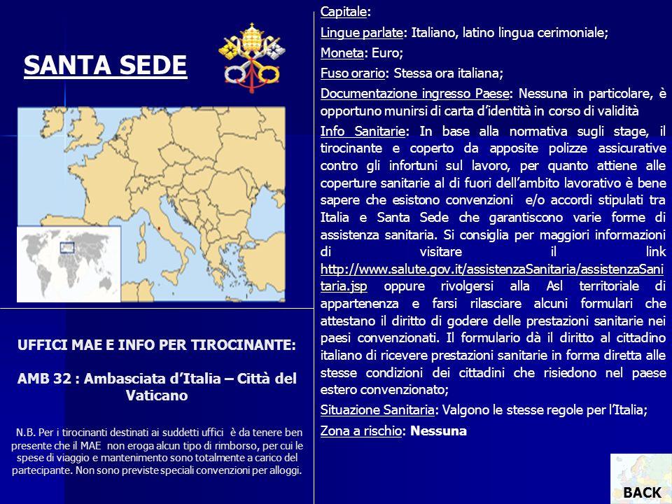 UFFICI MAE E INFO PER TIROCINANTE: AMB 32 : Ambasciata dItalia – Città del Vaticano N.B. Per i tirocinanti destinati ai suddetti uffici è da tenere be
