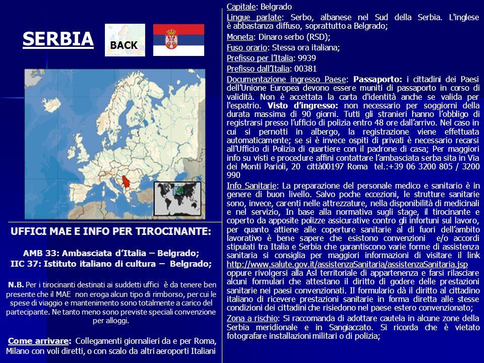 UFFICI MAE E INFO PER TIROCINANTE: AMB 33: Ambasciata dItalia – Belgrado; IIC 37: Istituto italiano di cultura – Belgrado; N.B. Per i tirocinanti dest