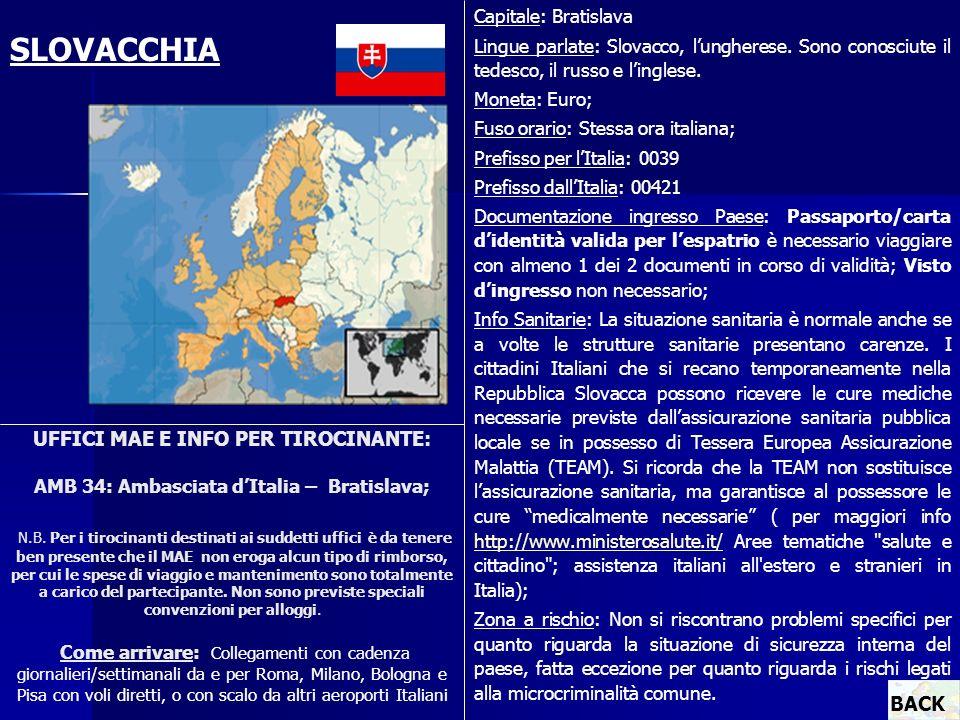 UFFICI MAE E INFO PER TIROCINANTE: AMB 34: Ambasciata dItalia – Bratislava; N.B. Per i tirocinanti destinati ai suddetti uffici è da tenere ben presen