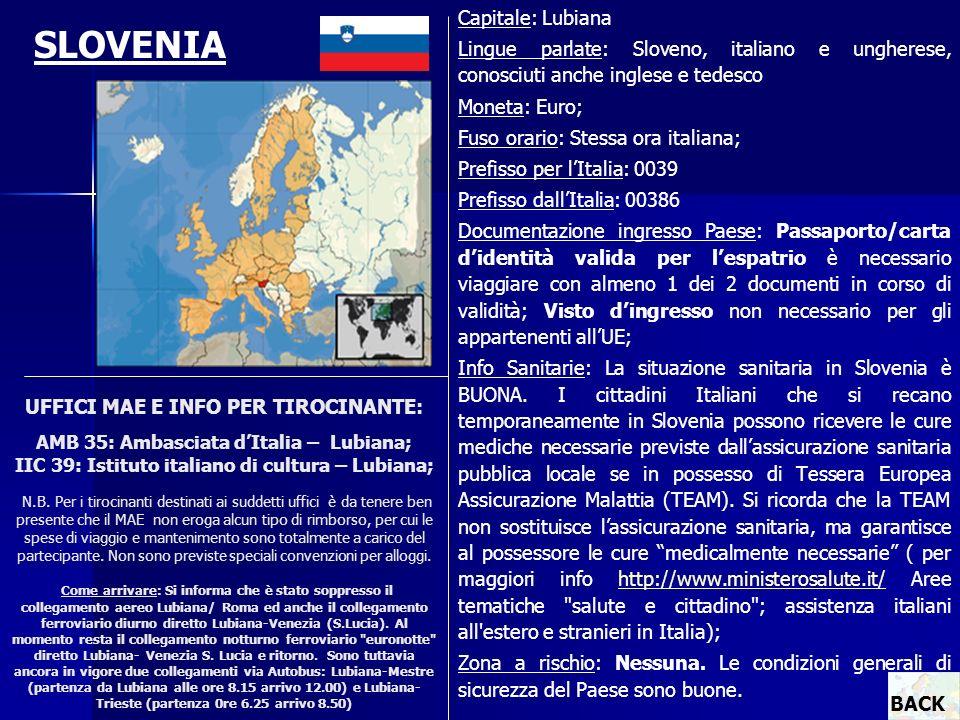 UFFICI MAE E INFO PER TIROCINANTE: AMB 35: Ambasciata dItalia – Lubiana; IIC 39: Istituto italiano di cultura – Lubiana; N.B. Per i tirocinanti destin