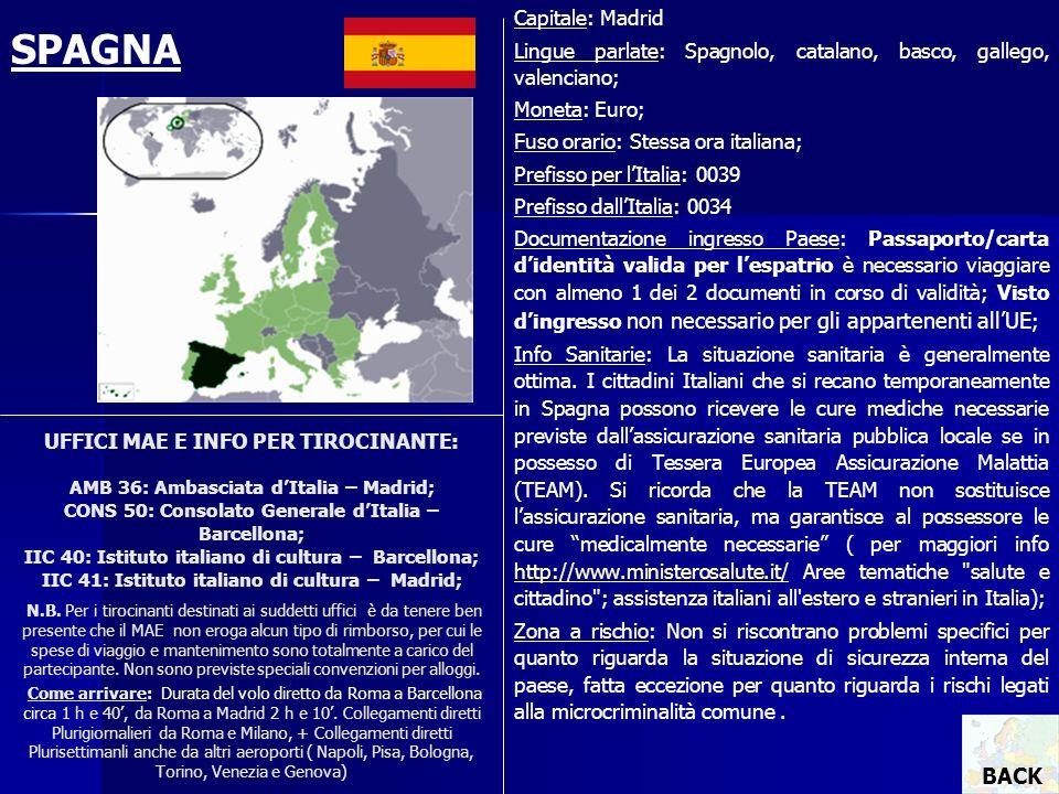UFFICI MAE E INFO PER TIROCINANTE: AMB 36: Ambasciata dItalia – Madrid; CONS 50: Consolato Generale dItalia – Barcellona; IIC 40: Istituto italiano di