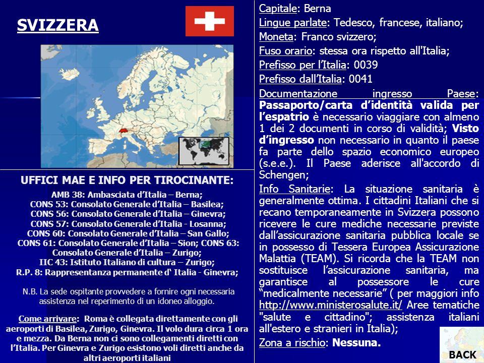 UFFICI MAE E INFO PER TIROCINANTE: AMB 38: Ambasciata dItalia – Berna; CONS 53: Consolato Generale dItalia – Basilea; CONS 56: Consolato Generale dIta