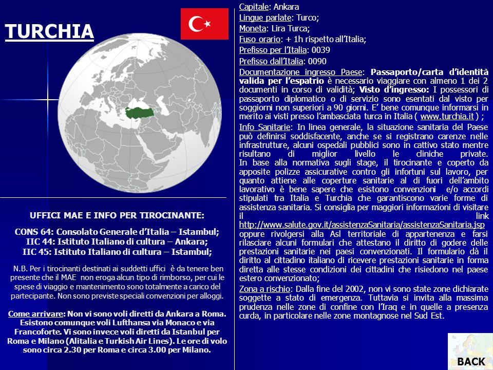 UFFICI MAE E INFO PER TIROCINANTE: CONS 64: Consolato Generale dItalia – Istambul; IIC 44: Istituto Italiano di cultura – Ankara; IIC 45: Istituto Ita