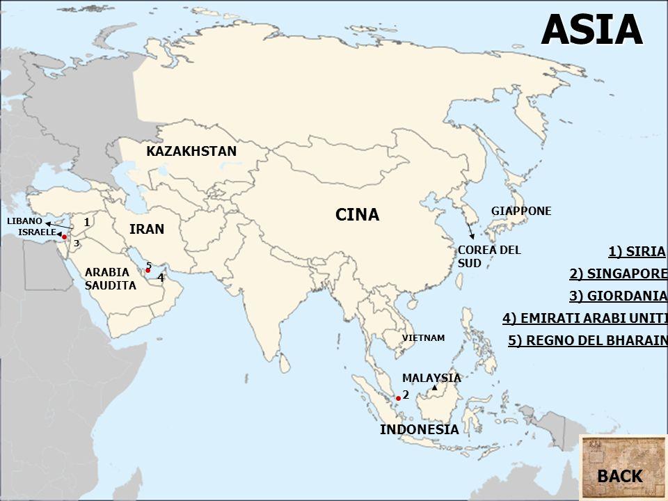 ASIA ARABIA SAUDITA CINA IRAN 1 1) SIRIA KAZAKHSTAN 3) GIORDANIA 5) REGNO DEL BHARAIN ISRAELE INDONESIA LIBANO MALAYSIA VIETNAM COREA DEL SUD GIAPPONE