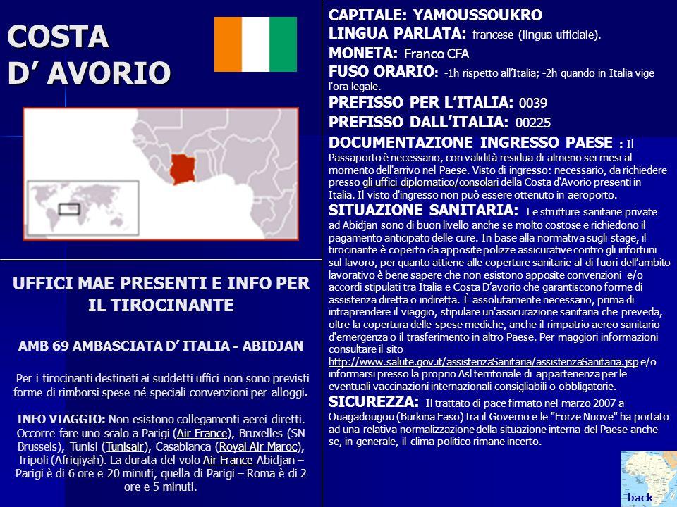 COSTA D AVORIO UFFICI MAE PRESENTI E INFO PER IL TIROCINANTE AMB 69 AMBASCIATA D ITALIA - ABIDJAN Per i tirocinanti destinati ai suddetti uffici non s