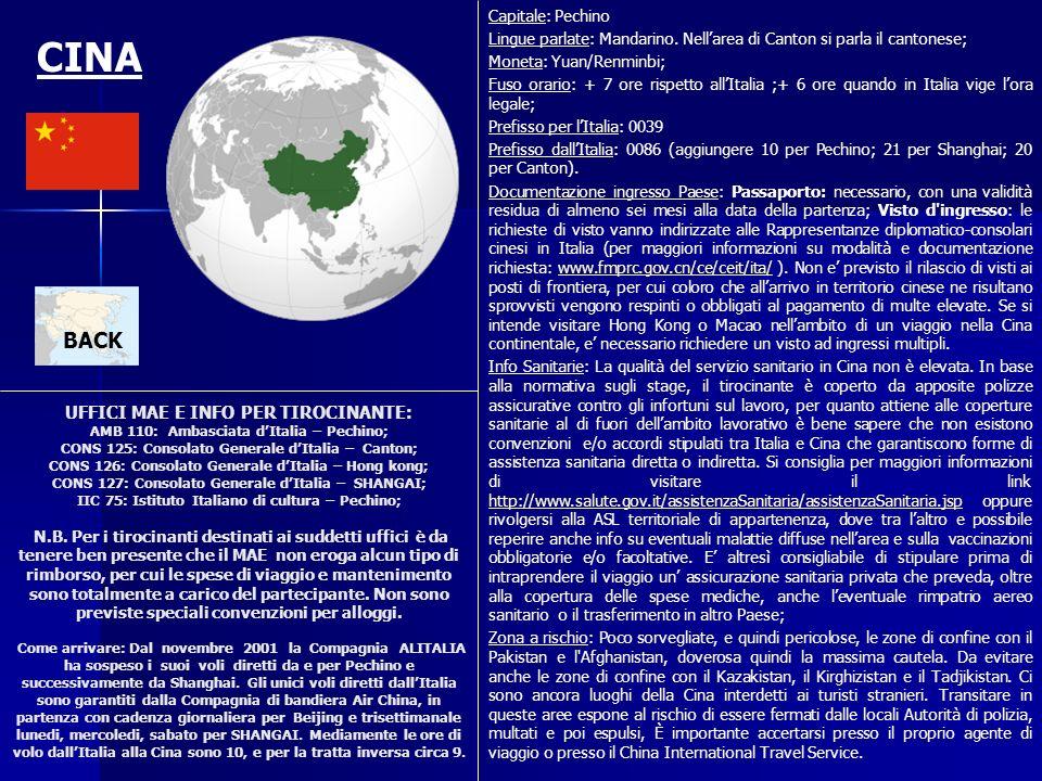 UFFICI MAE E INFO PER TIROCINANTE: AMB 110: Ambasciata dItalia – Pechino; CONS 125: Consolato Generale dItalia – Canton; CONS 126: Consolato Generale