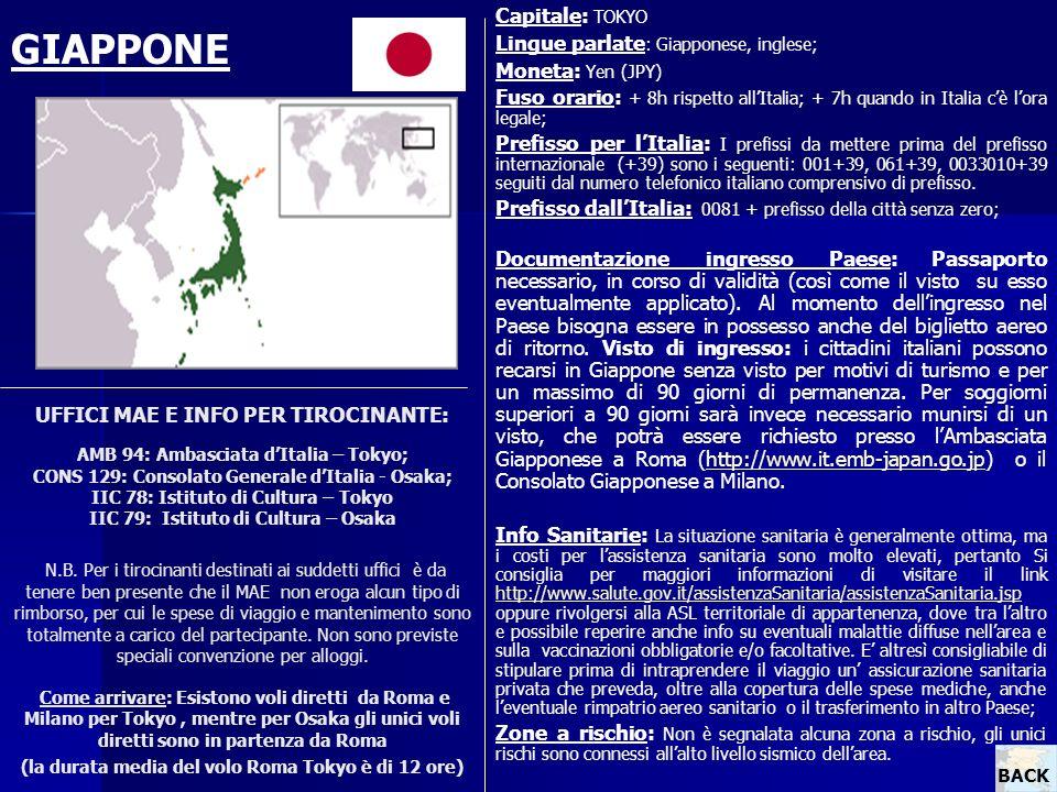 UFFICI MAE E INFO PER TIROCINANTE: AMB 94: Ambasciata dItalia – Tokyo; CONS 129: Consolato Generale dItalia - Osaka; IIC 78: Istituto di Cultura – Tok