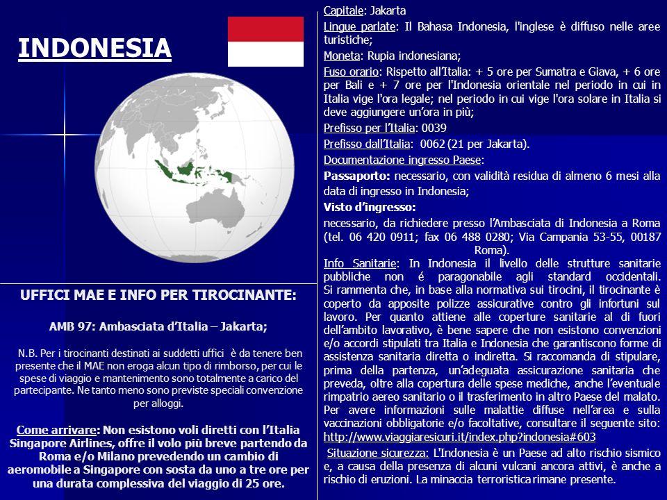 UFFICI MAE E INFO PER TIROCINANTE: AMB 97: Ambasciata dItalia – Jakarta; N.B. Per i tirocinanti destinati ai suddetti uffici è da tenere ben presente