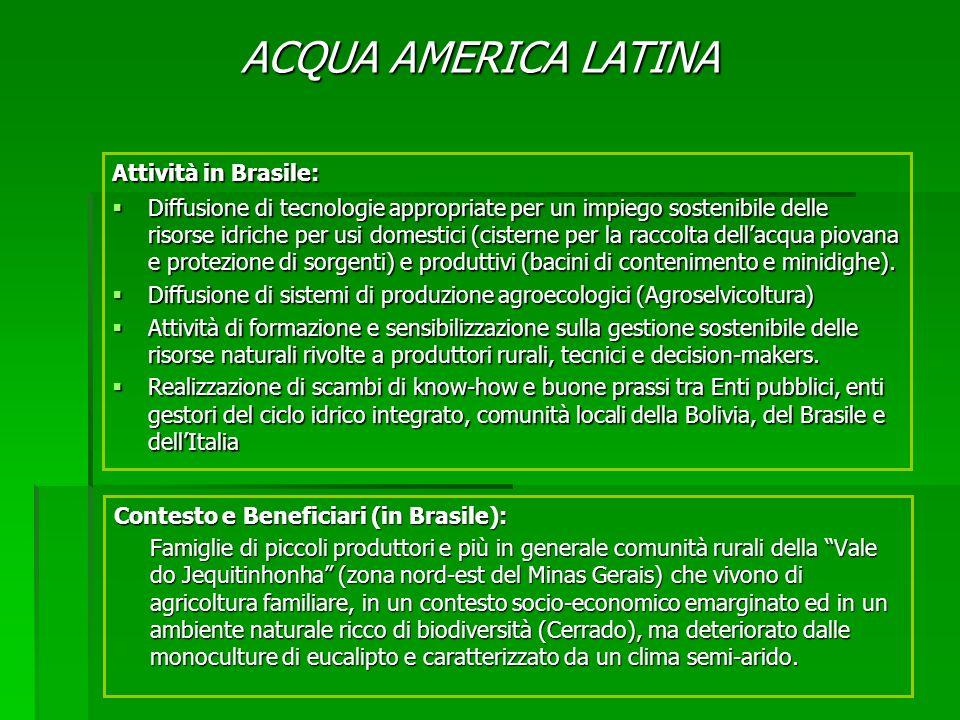 Contesto e Beneficiari (in Brasile): Famiglie di piccoli produttori e più in generale comunità rurali della Vale do Jequitinhonha (zona nord-est del M
