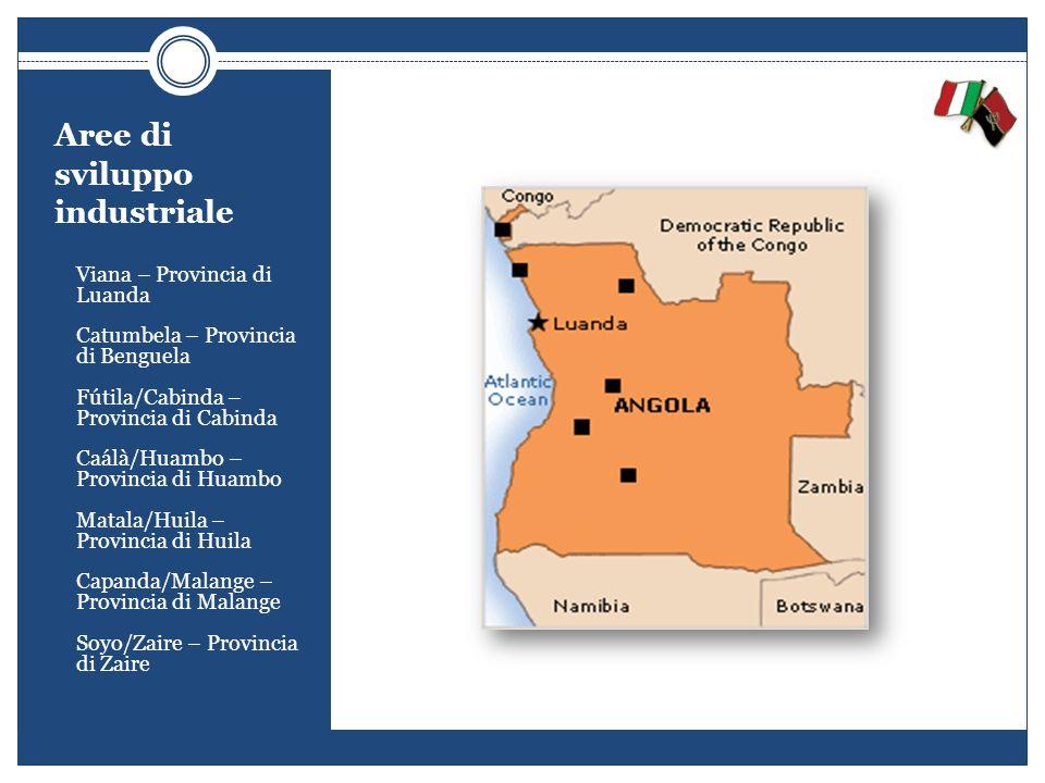 Aree di sviluppo industriale - Viana – Provincia di Luanda - Catumbela – Provincia di Benguela - Fútila/Cabinda – Provincia di Cabinda - Caálà/Huambo