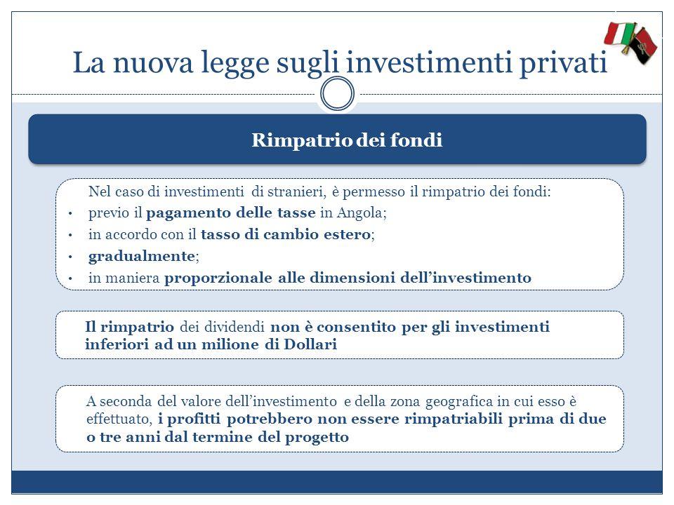 La nuova legge sugli investimenti privati Rimpatrio dei fondi Nel caso di investimenti di stranieri, è permesso il rimpatrio dei fondi: previo il paga