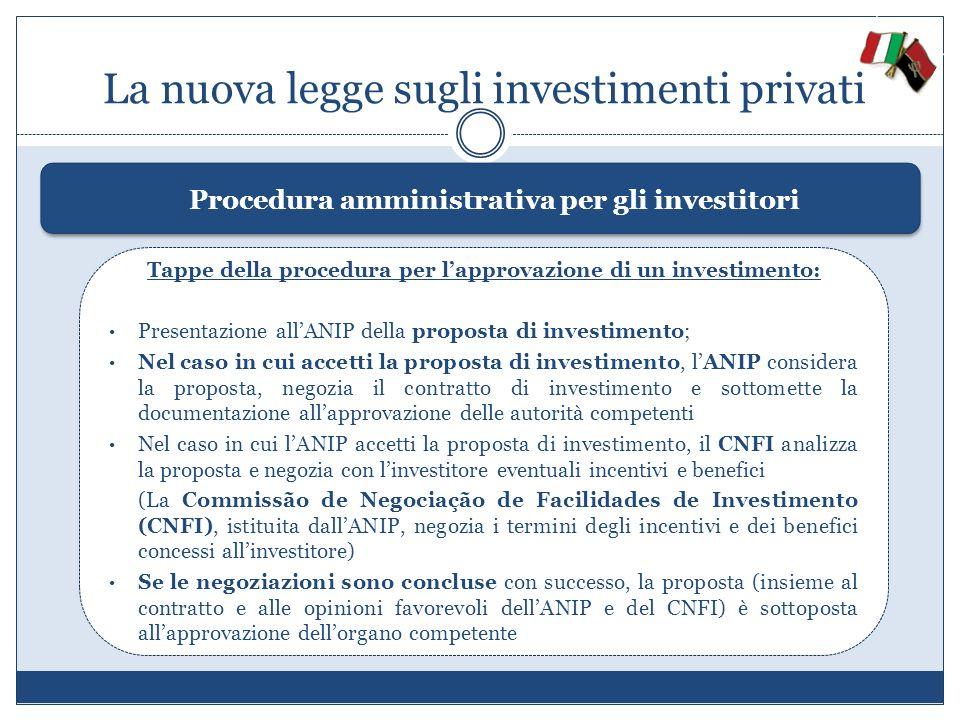 La nuova legge sugli investimenti privati Procedura amministrativa per gli investitori Tappe della procedura per lapprovazione di un investimento: Pre