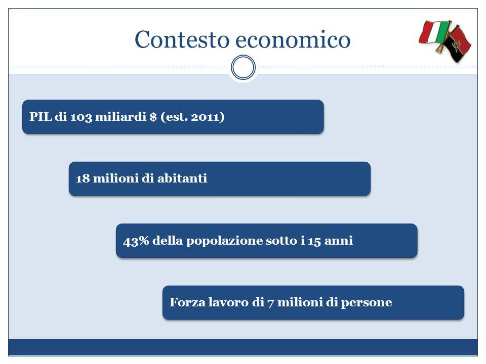 Contesto economico PIL di 103 miliardi $ (est. 2011) 18 milioni di abitanti 43% della popolazione sotto i 15 anni Forza lavoro di 7 milioni di persone