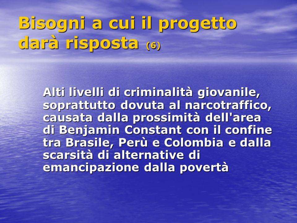 Bisogni a cui il progetto darà risposta (6) Alti livelli di criminalità giovanile, soprattutto dovuta al narcotraffico, causata dalla prossimità dell area di Benjamin Constant con il confine tra Brasile, Perù e Colombia e dalla scarsità di alternative di emancipazione dalla povertà