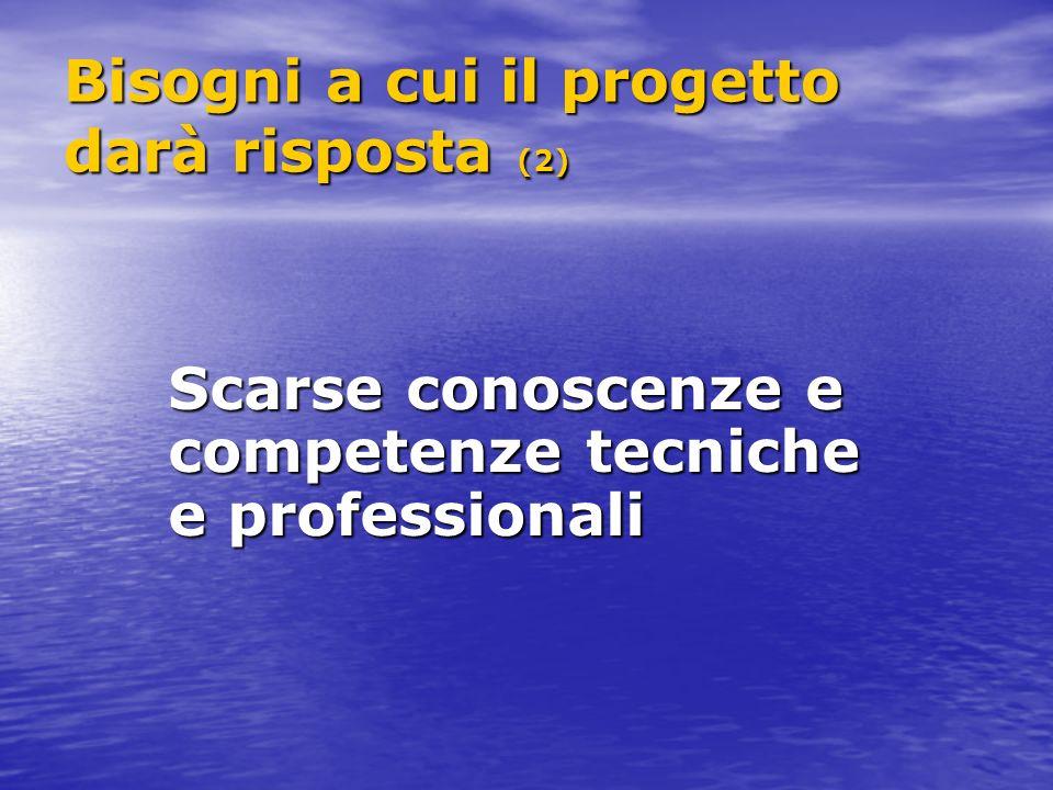 Bisogni a cui il progetto darà risposta (2) Scarse conoscenze e competenze tecniche e professionali