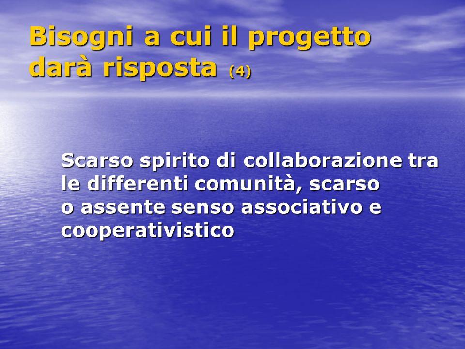 Bisogni a cui il progetto darà risposta (4) Scarso spirito di collaborazione tra le differenti comunità, scarso o assente senso associativo e cooperativistico