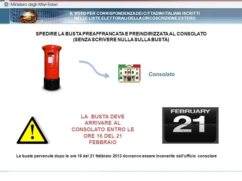 LA BUSTA DEVE ARRIVARE AL CONSOLATO ENTRO LE ORE 16 DEL 21 FEBBRAIO SPEDIRE LA BUSTA PREAFFRANCATA E PREINDIRIZZATA AL CONSOLATO (SENZA SCRIVERE NULLA SULLA BUSTA) Le buste pervenute dopo le ore 16 del 21 febbraio 2013 dovranno essere incenerite dallufficio consolare IL VOTO PER CORRISPONDENZA DEI CITTADINI ITALIANI ISCRITTI NELLE LISTE ELETTORALI DELLA CIRCOSCRIZIONE ESTERO