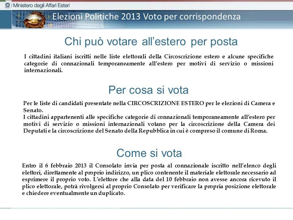 Elezioni Politiche 2013 Voto per corrispondenza Per cosa si vota Per le liste di candidati presentate nella CIRCOSCRIZIONE ESTERO per le elezioni di Camera e Senato.