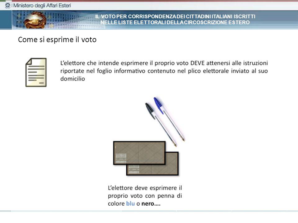 Come si esprime il voto IL VOTO PER CORRISPONDENZA DEI CITTADINI ITALIANI ISCRITTI NELLE LISTE ELETTORALI DELLA CIRCOSCRIZIONE ESTERO