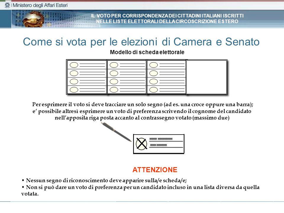 Come si vota per le elezioni di Camera e Senato Modello di scheda elettorale Nessun segno di riconoscimento deve apparire sulla/e scheda/e; Non si può dare un voto di preferenza per un candidato incluso in una lista diversa da quella votata.