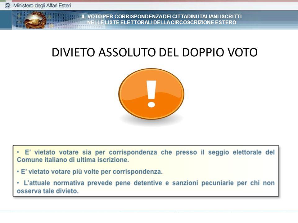DIVIETO ASSOLUTO DEL DOPPIO VOTO IL VOTO PER CORRISPONDENZA DEI CITTADINI ITALIANI ISCRITTI NELLE LISTE ELETTORALI DELLA CIRCOSCRIZIONE ESTERO
