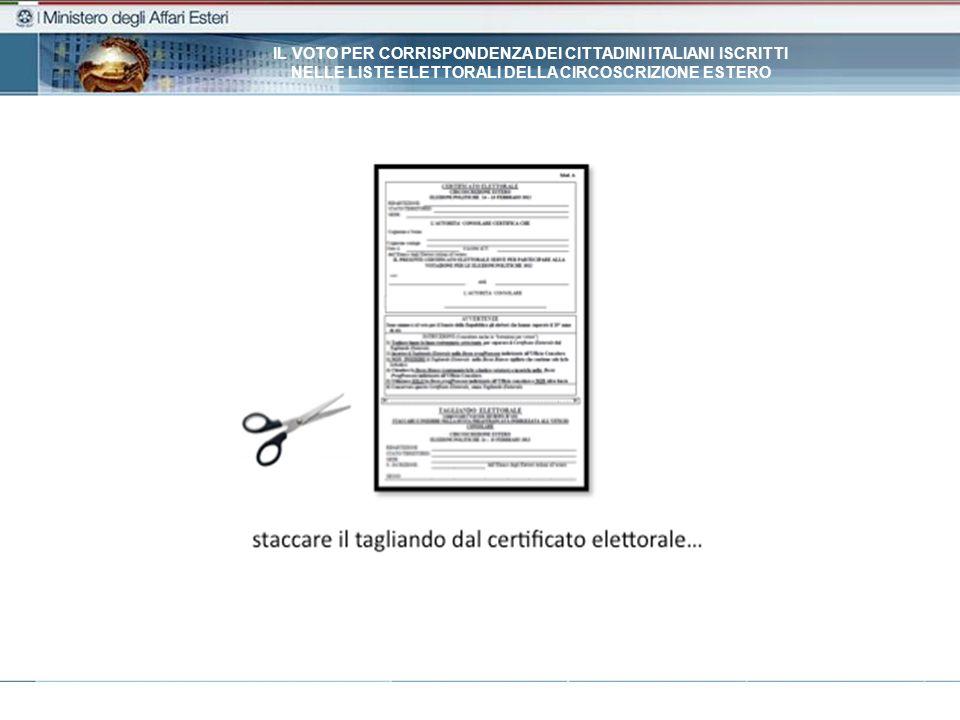 IL VOTO PER CORRISPONDENZA DEI CITTADINI ITALIANI ISCRITTI NELLE LISTE ELETTORALI DELLA CIRCOSCRIZIONE ESTERO