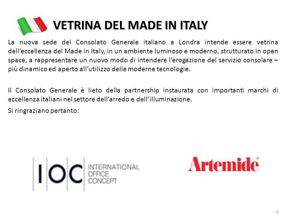 VETRINA DEL MADE IN ITALY La nuova sede del Consolato Generale italiano a Londra intende essere vetrina delleccellenza del Made in Italy, in un ambien