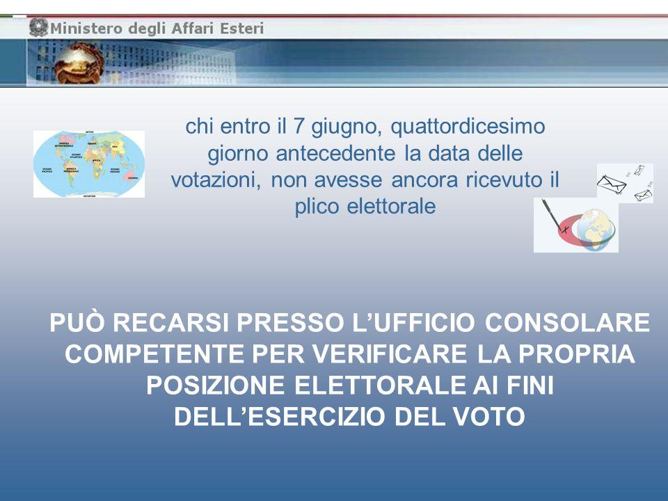 chi entro il 7 giugno, quattordicesimo giorno antecedente la data delle votazioni, non avesse ancora ricevuto il plico elettorale PUÒ RECARSI PRESSO L