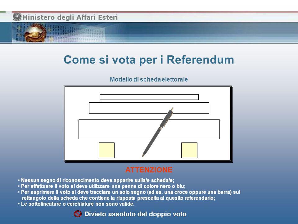 Come si vota per i Referendum Modello di scheda elettorale Nessun segno di riconoscimento deve apparire sulla/e scheda/e; Per effettuare il voto si de