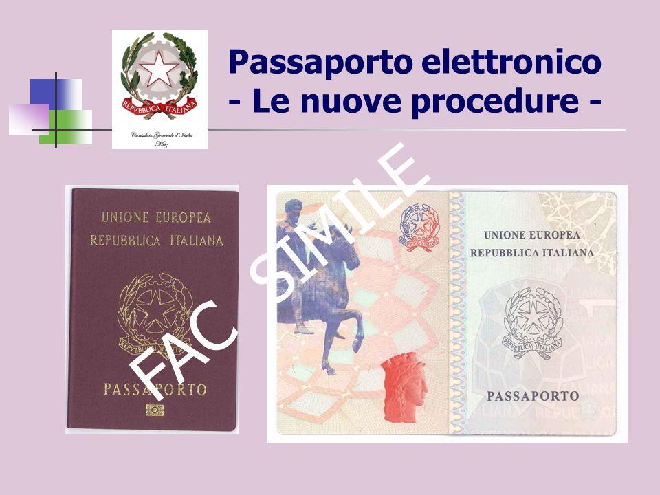 Passaporto elettronico - Le nuove procedure - FAC SIMILE