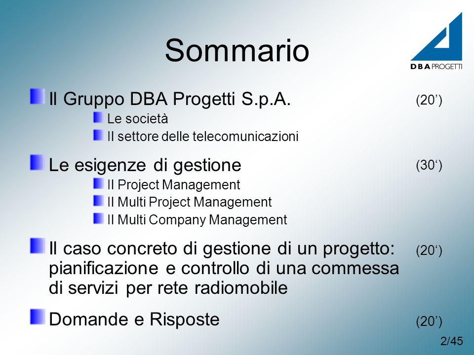 Sommario Il Gruppo DBA Progetti S.p.A. Le società Il settore delle telecomunicazioni Le esigenze di gestione Il Project Management Il Multi Project Ma