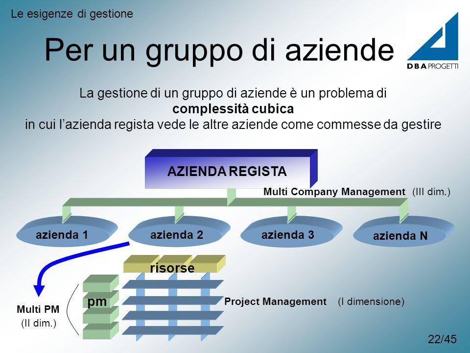 azienda 1azienda 2azienda 3 azienda N Per un gruppo di aziende Le esigenze di gestione La gestione di un gruppo di aziende è un problema di complessit