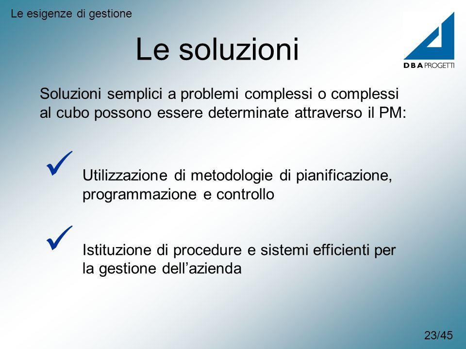 Le soluzioni Le esigenze di gestione Soluzioni semplici a problemi complessi o complessi al cubo possono essere determinate attraverso il PM: Utilizza