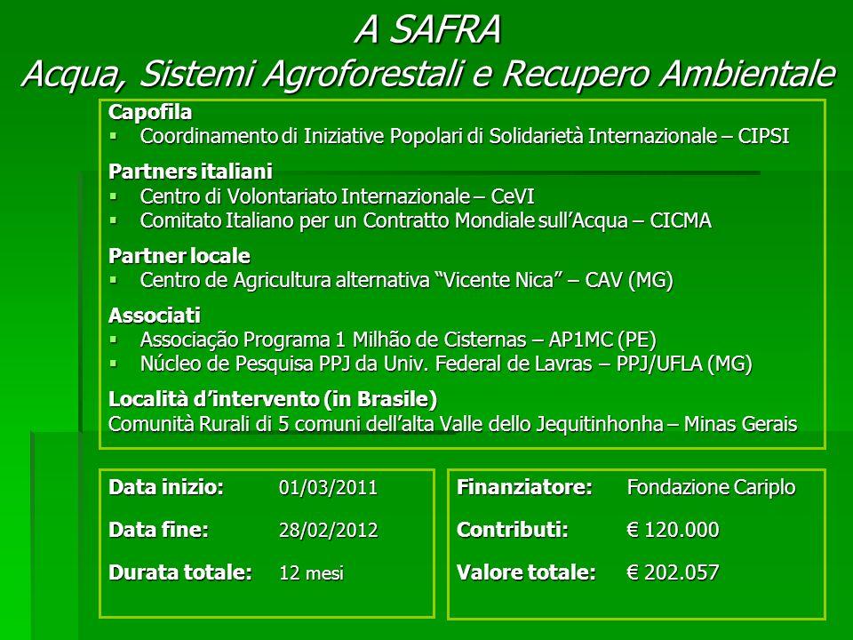 A SAFRA Acqua, Sistemi Agroforestali e Recupero Ambientale Finanziatore:Fondazione Cariplo Contributi: 120.000 Valore totale: 202.057 Data inizio: 01/