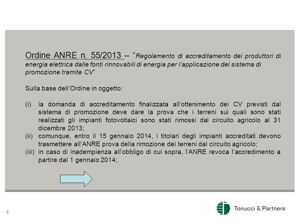 3 Ordine ANRE n. 55/2013 – Regolamento di accreditamento dei produttori di energia elettrica dalle fonti rinnovabili di energia per lapplicazione del