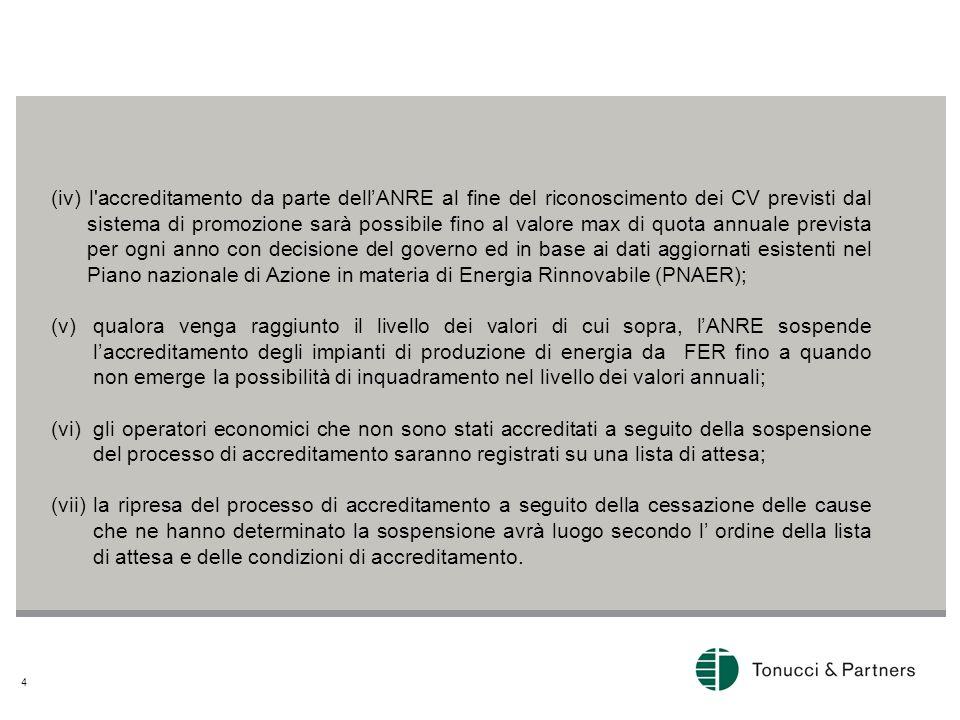 4 (iv) l'accreditamento da parte dellANRE al fine del riconoscimento dei CV previsti dal sistema di promozione sarà possibile fino al valore max di qu