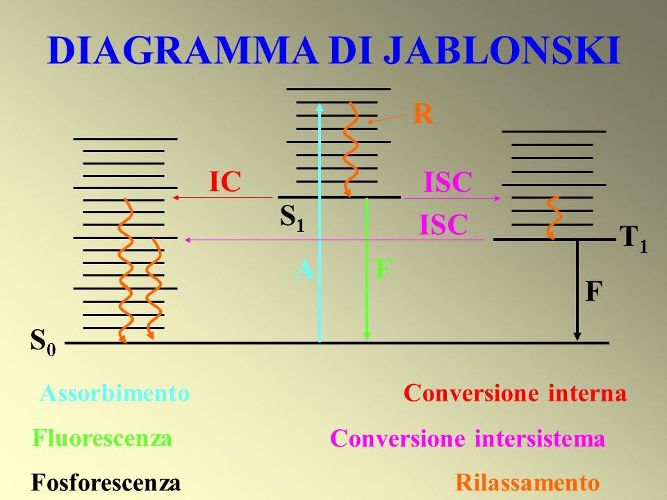 DIAGRAMMA DI JABLONSKI S1S1 S0S0 T1T1 A Assorbimento F Fluorescenza F Fosforescenza IC Conversione interna ISC Conversione intersistema R Rilassamento