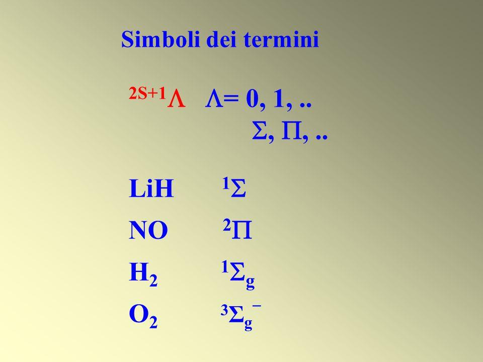 Simboli dei termini 2S+1 = 0, 1,..,,.. LiH 1 NO 2 H 2 1 g O 2 3 Σ g