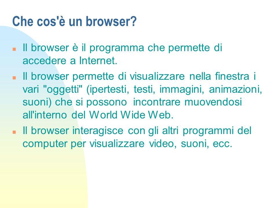 Che cos è un browser.n Il browser è il programma che permette di accedere a Internet.