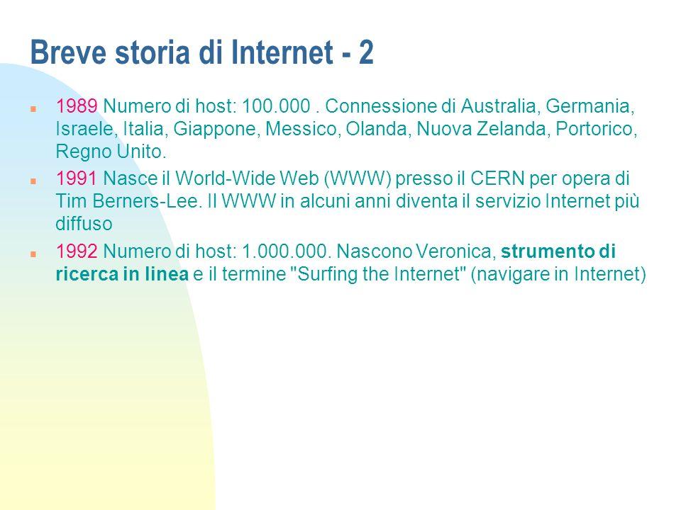 Breve storia di Internet - 2 n 1989 Numero di host: 100.000.