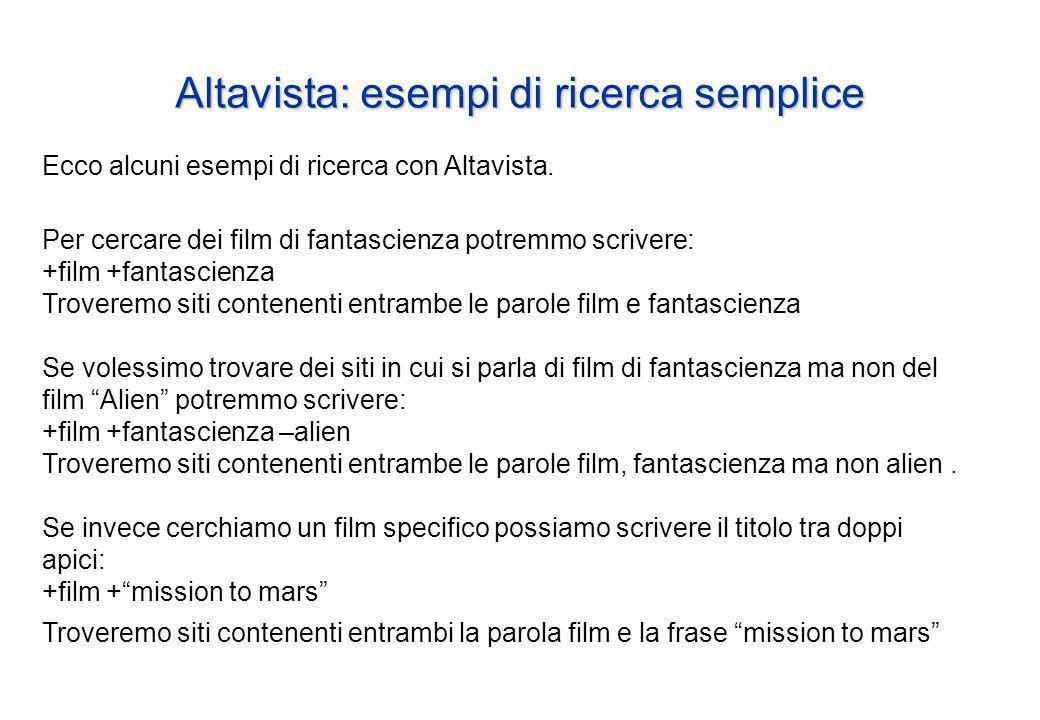 Altavista: esempi di ricerca semplice Ecco alcuni esempi di ricerca con Altavista.