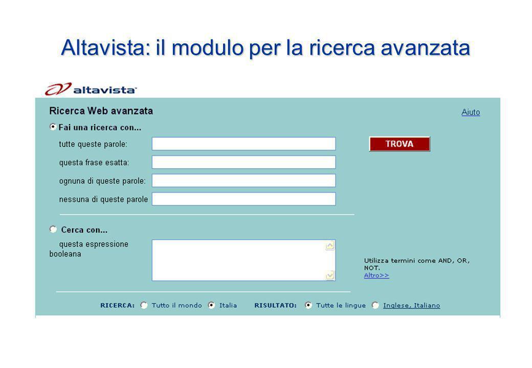 Altavista: il modulo per la ricerca avanzata