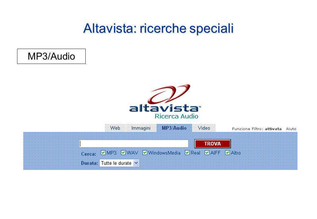 Altavista: ricerche speciali MP3/Audio