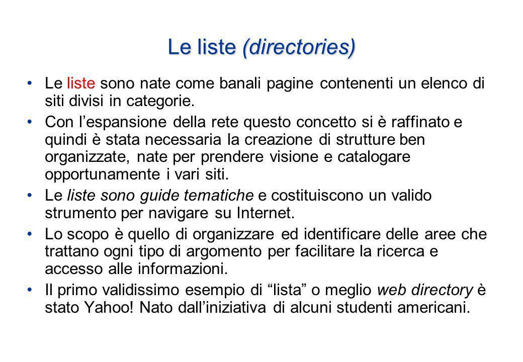 Le liste (directories) Le liste sono nate come banali pagine contenenti un elenco di siti divisi in categorie.