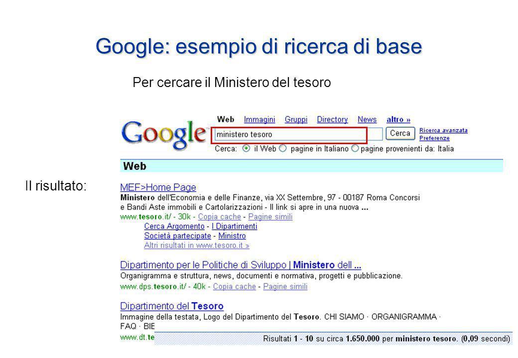 Google: esempio di ricerca di base Per cercare il Ministero del tesoro Il risultato: