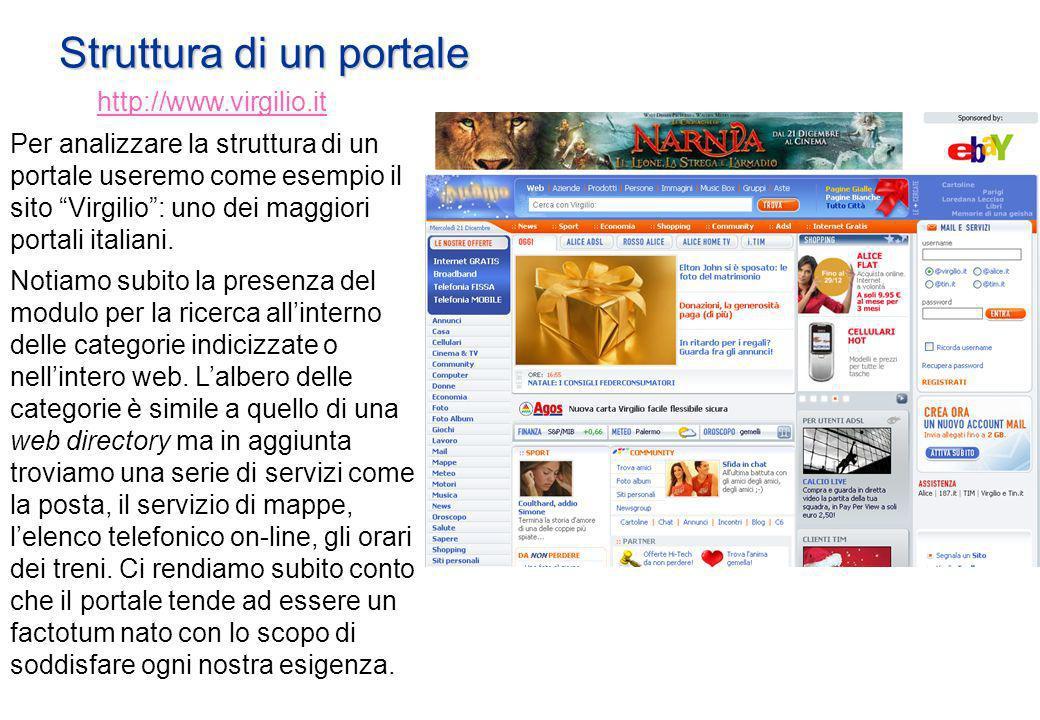 Struttura di un portale http://www.virgilio.it Per analizzare la struttura di un portale useremo come esempio il sito Virgilio: uno dei maggiori portali italiani.