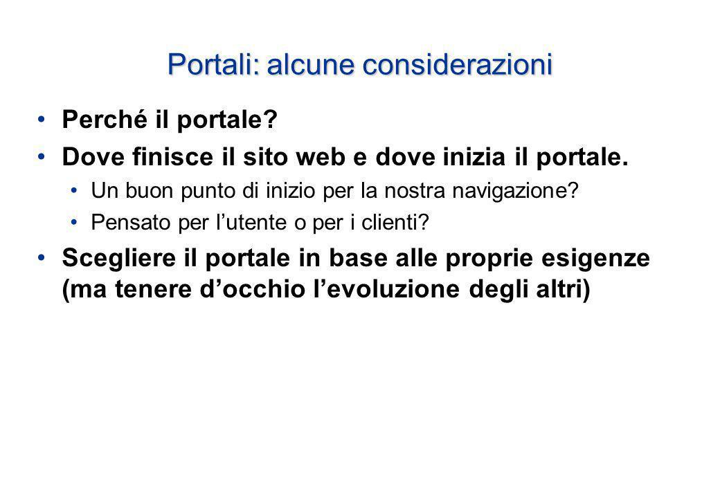 Portali: alcune considerazioni Perché il portale.