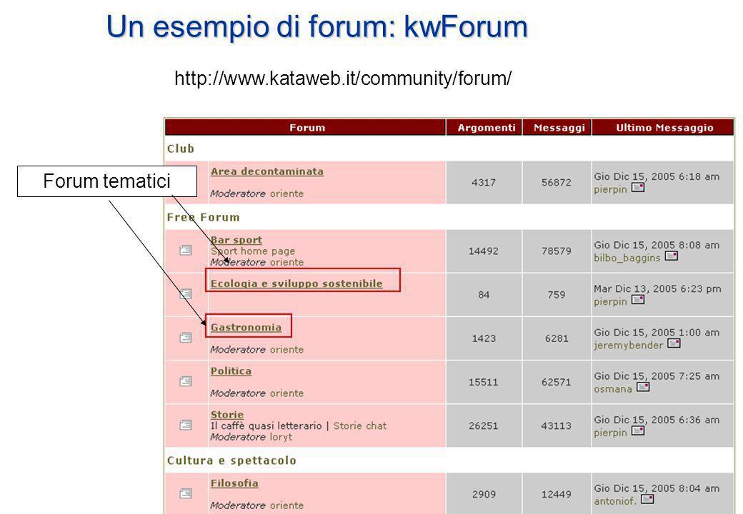 Un esempio di forum: kwForum http://www.kataweb.it/community/forum/ Forum tematici