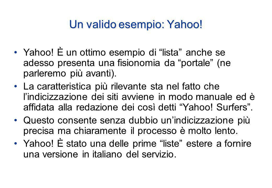 Un valido esempio: Yahoo. Yahoo.