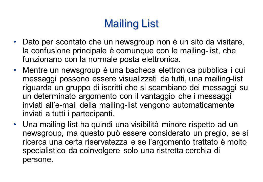 Mailing List Dato per scontato che un newsgroup non è un sito da visitare, la confusione principale è comunque con le mailing-list, che funzionano con la normale posta elettronica.